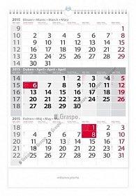 Kalendář 2015 - Tříměsíční šedý nástěnný