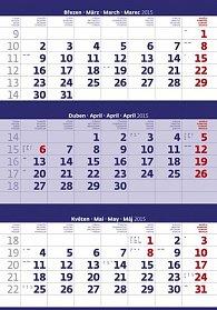Kalendář nástěnný 2015 - Tříměsíční modr