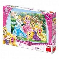 Princezny s mazlíčky v parku - puzzle 100 XL dílků
