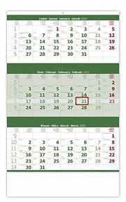 Kalendář nástěnný 2020 - Tříměsíční zelený