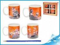 Hrníčky porcelánové Včelí medvídci oranžové 4ks v
