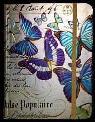 Zápisník s gumičkou 130x180 mm zlatý s motýli