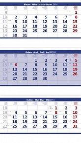 Kalendář nástěnný 2016 - Tříměsíční - skládaný modrý