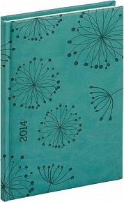 Diář 2014 - Tucson-Vivella speciál - Týdenní A5, tyrkysová, květiny (ČES, SLO, ANG, NĚM)