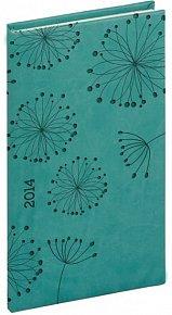 Diář 2014 -Tucson-Vivella speciál - Kapesní, tyrkysová, květiny (ČES, SLO, ANG, NĚM)