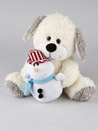 Pes sedící se sněhulákem 32 cm