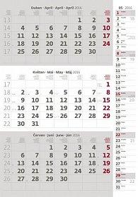 Kalendář nástěnný 2016 - Tříměsíční - šedý s poznámkami
