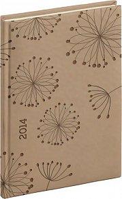 Diář 2014 - Tucson-Vivella speciál - Týdenní A5, krémová, květiny (ČES, SLO, ANG, NĚM)