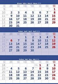 Kalendář nástěnný 2016 - Tříměsíční - modrý