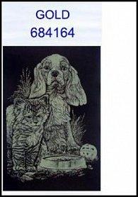 Škrabací obrázek A4 pes a kotě GOLD