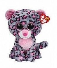 Plyš očka střední růžovo-šedý leopard