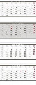 Kalendář nástěnný 2018 - 4měsíční/šedý skládaný s jmenným kalendáriem