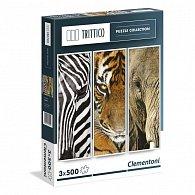 Puzzle Trittico 3x500 dílků Zvířata