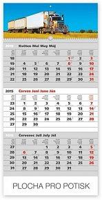 Kalendář 2015 - Truck šedý 3měsíční s českými jmény - nástěnný s prodlouženými zády