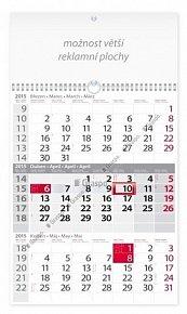 Kalendář 2015 - Tříměsíční šedý s reklam