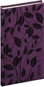Diář 2014 -Tucson-Vivella speciál - Kapesní, tmavě fialová, lístky (ČES, SLO, ANG, NĚM)