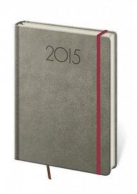Diář 2015 - NEW PRAGA kapesní týdenní s gumičkou - šedá