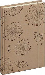 Diář 2014 - Tucson-Vivella speciál - Denní B6, krémová, květiny (ČES, SLO, ANG, NĚM)