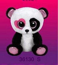 Plyš očka střední panda srdíčko