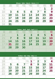 Kalendář 2014 - Tříměsíční zelený - nástěnný