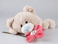 Medvěd ležící s kytičkou 30 cm