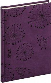 Diář 2014 - Tucson-Vivella speciál - Týdenní A5, tmavě fialová, květiny (ČES, SLO, ANG, NĚM)