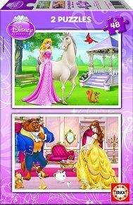 Puzzle Disney Princezny 2v1 48 dílků