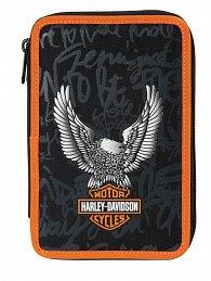 Penál Target dvoupatrový Harley Davidson černo/oranžový