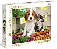 Puzzle 1000 dílků Štěně s koťátkem