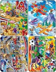 Puzzle MINI - Letadla,hasiči,farma,fotbal/14 dílků (4 druhy)