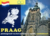 Praag plattengrond van het centrum 1:15 000 + ansichtkaart