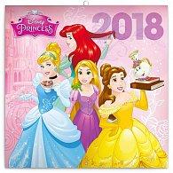 Kalendář poznámkový 2018 - Princezny, 30 x 30 cm
