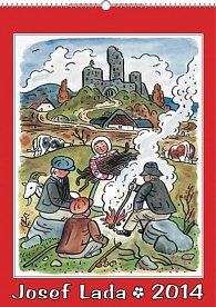 Kalendář 2014 - Josef Lada U ohníčku - nástěnný s prodlouženými zády