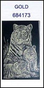 Škrabací obrázek A5 tygři GOLD