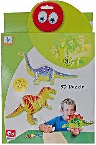 Dřevěné puzzle v krabičce - dinosaurus 3D
