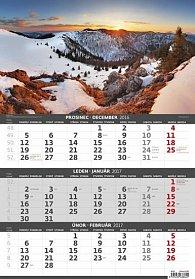 Kalendář nástěnný 2017 - 3měsíční/Hory
