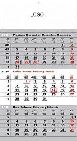 Kalendář 2014 - Standard šedý 3měsíční s českými jmény - nástěnný s prodlouženými zády