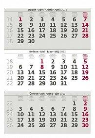 Kalendář stolní 2013 - Mini tříměsíční kalendář šedý