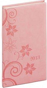 Diář 2013 - Tucson-Vivella - Kapesní, růžová, květiny, 9 x 15,5 cm