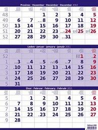 Tříměsíční kalendář modrý 2011 - nástěnný kalendář