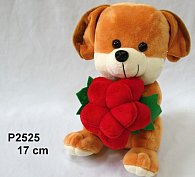 Pejsek Egon s růží 17 cm