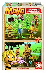 Puzzle dřevěné Včelka Mája 2 v 1, 50 dílků