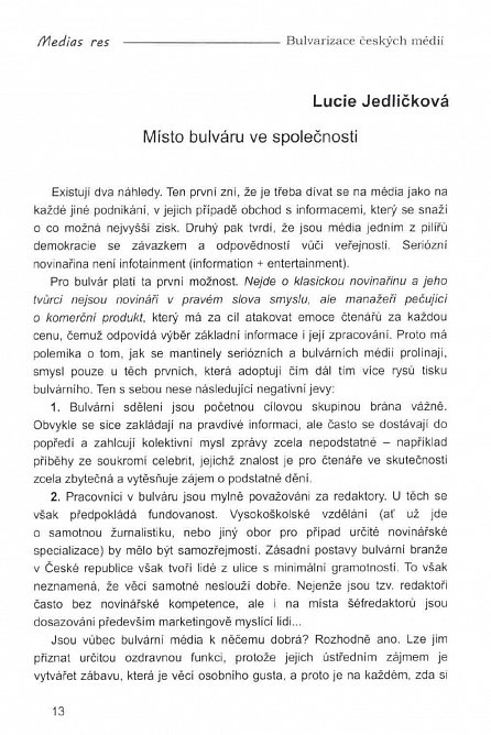 Náhled Bulvarizace českých médií