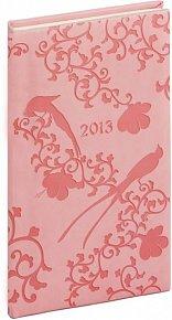 Diář 2013 - Tucson-Vivella - Kapesní, růžová, ptáci, 9 x 15,5 cm