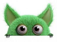 Záložka 3D zelená příšerka hlava