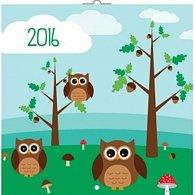 Kalendář nástěnný 2016 - Chytrá soví rodinka, poznámkový  30 x 30 cm