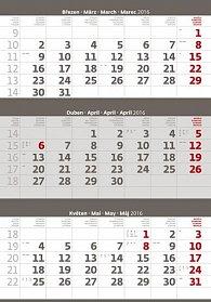 Kalendář nástěnný 2016 - Tříměsíční - šedý