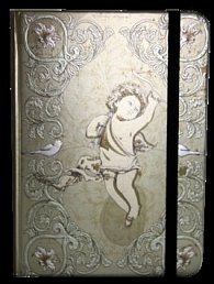 Zápisník s gumičkou 130x180 mm zlatý s andělíčkem