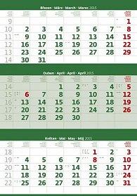 Kalendář nástěnný 2015 - Tříměsíční zelený