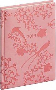 Diář 2013 - Tucson-Vivella - Týdenní A5, růžová, květiny, 15 x 21 cm